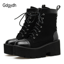 Gdgydh Lace Up Ankle Boots For Women 2019 Spring Autumn Suede High Heel Chunky Heels Comfortable