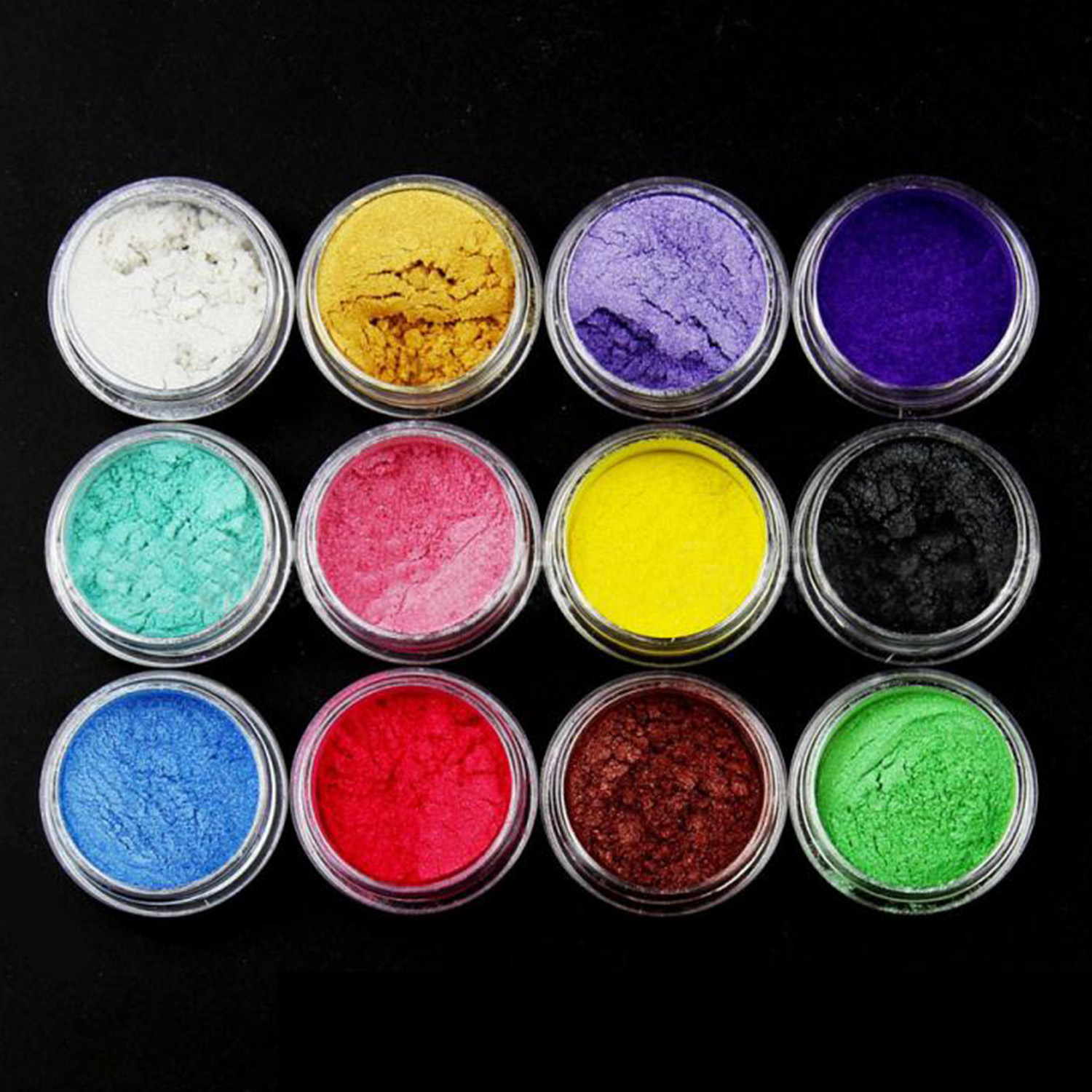12pcs Mixed Colors Colorant Pigments Mica Pearl Powder For DIY Nail Art Craft Projects Slime Making Supplies