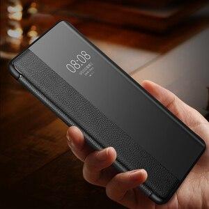 Image 3 - Lüks akıllı dokunmatik Mate30pro için hakiki deri Flip Case Huawei Mate 30 20 P30 Pro Mate20x Mate30 5G görüş pencere telefon kapak