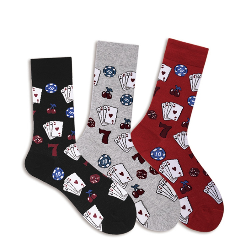Warm Socks Men Sport Running Gym Casual Socks Dice Poker Card Printed Anti-slip Male Sock Breathable Cotton Footwear Accessories