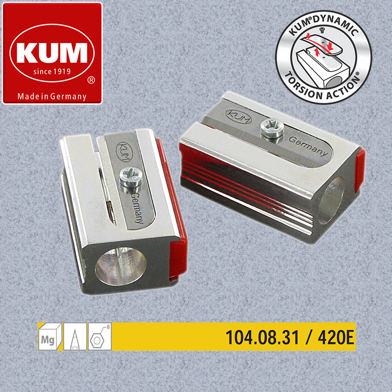 1pc German KUM 420E Magnesium High Sharp Single Hole Pencil Sharpener With 2 Replacement Blades Suitable For 8mm Pencil