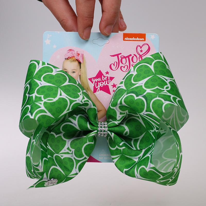 Image 3 - St. Patricks Day Hair Bow Hairpins for Saint Patrick Clover Printed Grosgrain 8INCH Girls Hairband Barrettes Accessories 12pcsHair Accessories   -
