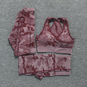 Image 1 - 2PCS/Set Camouflage Yoga Set Women Seamless Fitness Yoga Bra Sports Bra High Waist GYM Camo leggings Pants Fitness Suits Workout