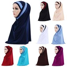 2 ชิ้นผู้หญิงมุสลิม Headscarf ผ้าคลุมไหล่ผ้าพันคอ Hijab ห่อ Headwear Amira อิสลามสวดมนต์หมวกอาหรับ Worshipe บริการ Hijab
