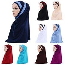 2 Pieces Muslim Women Headscarf Shawl Scarf Hijab Wrap Headwear Amira Islamic Full Cover Prayer Hat Arab Worshipe Service Hijab