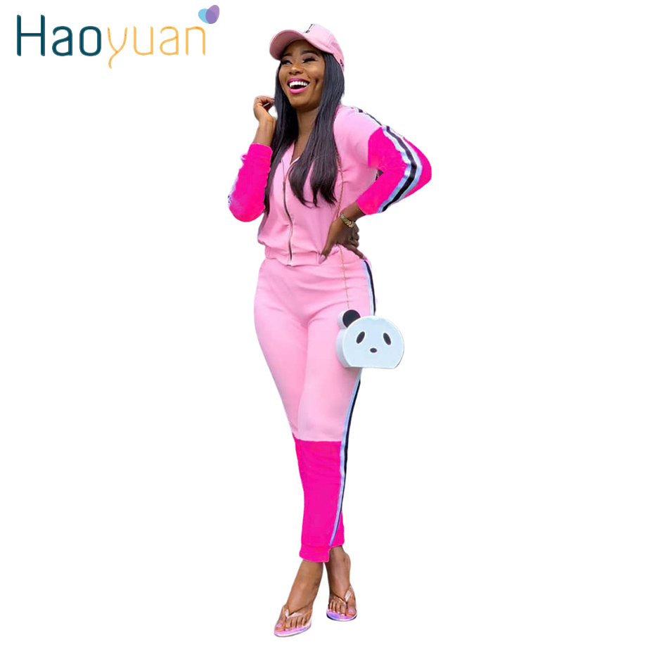 HAOYUAN Casual Two Piece Set Tracksuit Womens Clothing Zipper Long Sleeve Top + Side Striped Pants Suit Streetwear Sweet Outfits