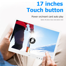 17-inch HD Touch Button Digital Photo Frame Display Video Advertising Machine Remote Control Music Video Player