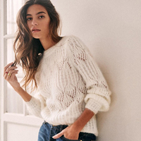 Jastie 2020 Spring French Hollow Loose Sweater Women V Neck Pullover Top Mohair Soft Long Sleeve Sweaters ropa de mujer sueter