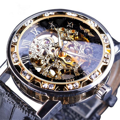 New  Transparent Golden Case Luxury Casual Design Brown Leather Strap Mens Watches Top Brand Luxury Mechanical Skeleton Watch