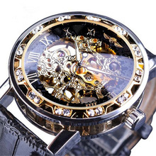 new Transparent Golden Case Luxury Casual Design Brown Leather Strap Mens