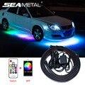 4 stücke Auto Underglow Flexible Streifen Wasserdichte LED RGB Dekorative Atmosphäre Lampe Remote /APP Control Unterboden-system Neon Licht