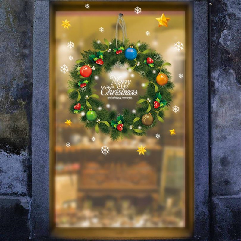 Christmas wreath Wall Stickers Window Glass Festival Decals Santa Murals New Year Christmas Decorations for Home Stickers