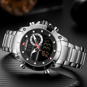 Image 3 - NAVIFORCE Reloj de lujo para Hombre, resistente al agua, de acero inoxidable, de cuarzo