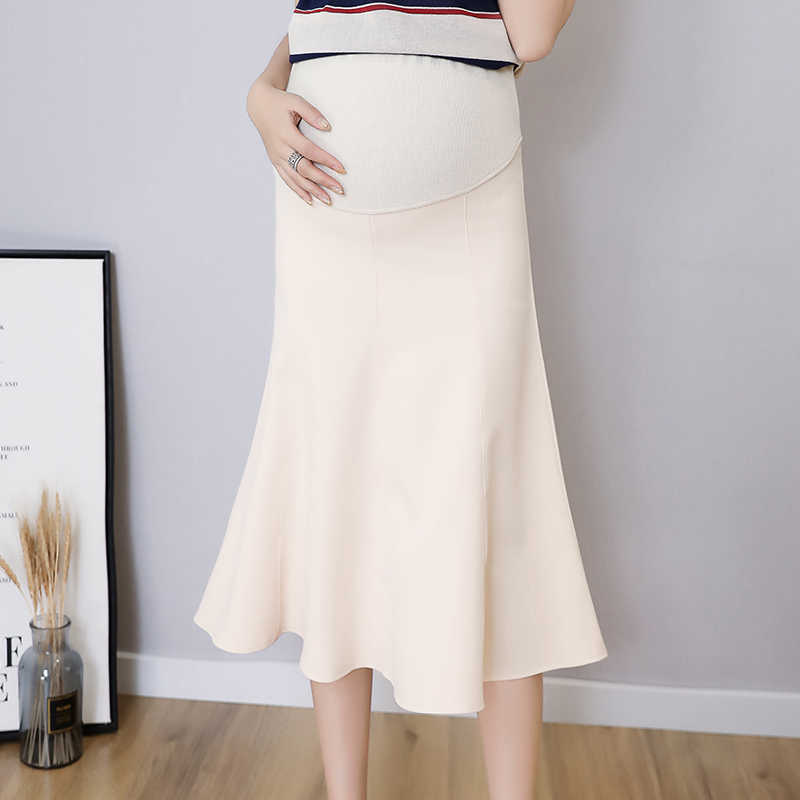 2019 Autumn Fashion Maternity Skirts High Waist Big Bottoms Belly Skirt Clothes for Pregnant Women Pregnancy Skirts