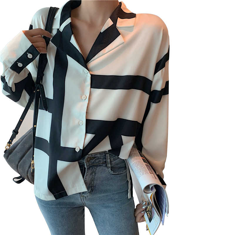 بلوزة وقمصان جديدة للسيدات غير رسمية من colorbelieve 2019 لربيع وصيف عتيق بأزرار مطبوعة مخططة على الموضة قميص علوي BL3525