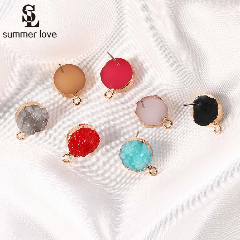 10PCS/Lot Earring Pins Needles 2019 New Colorful Resin Fake Druzy Earrings Base Connectors For Diy Jewelry Making Accessories