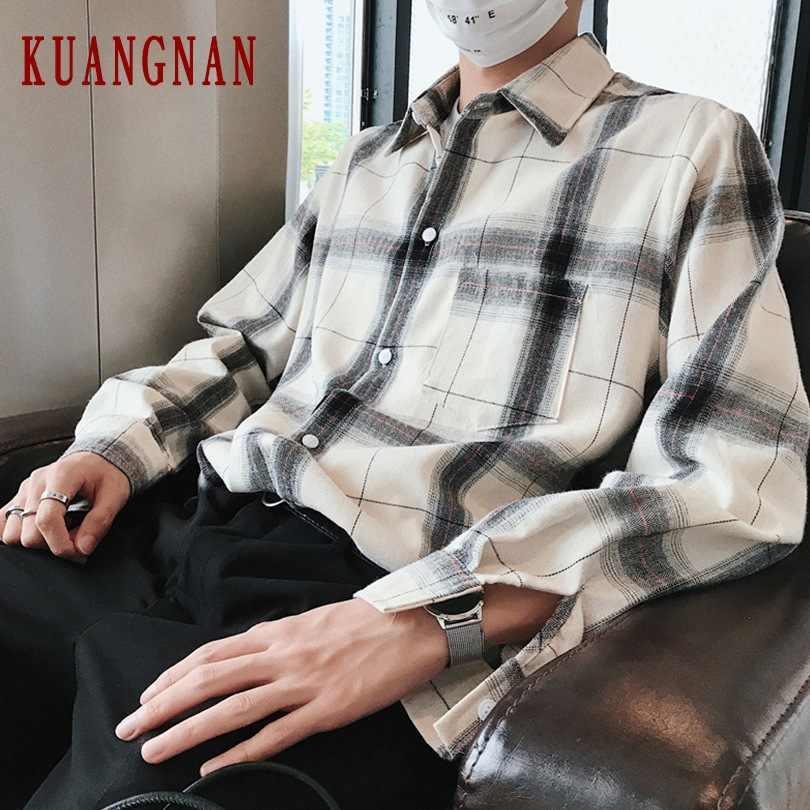 KUANGNAN チェック柄白シャツ男性ストリート長袖シャツ男性ファッションシャツの男性ヒップホップの服 XXL 2019 秋新しい