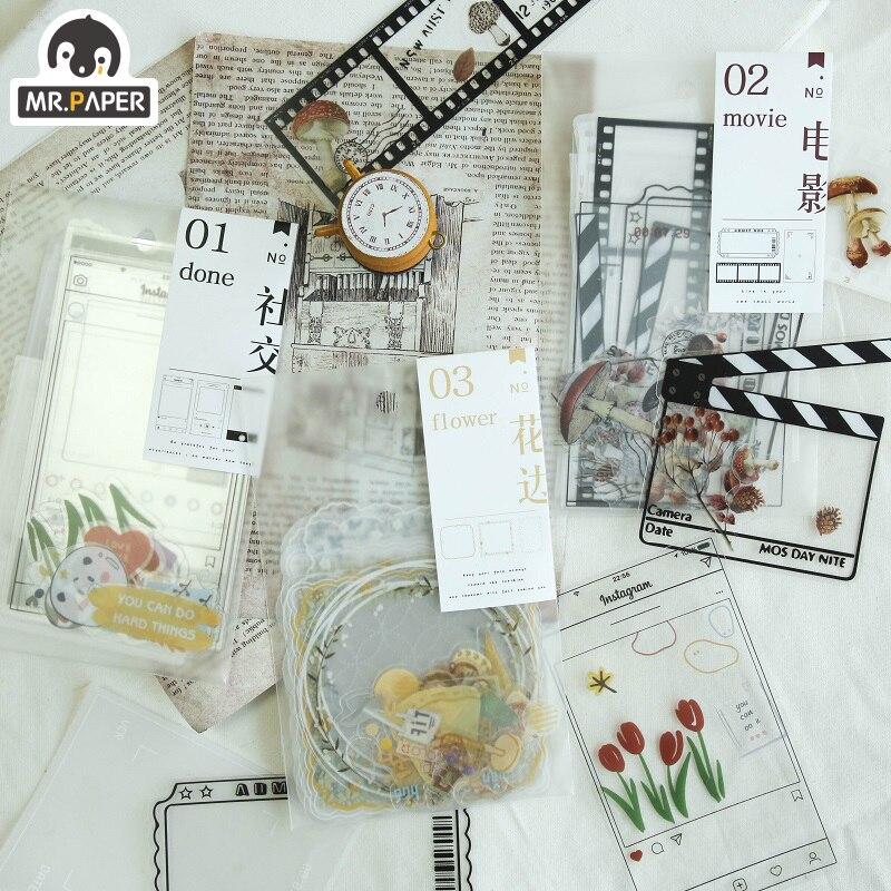 Mr.paper Collage Secret DIY Invitation Greeting Transparent Card with Envelope Handmade Dry Wedding