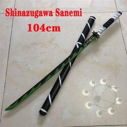 Dämon Slayer PU Schwert Waffe Cosplay Kimetsu keine Yaiba Shinazugawa Sanemi Schwert Ninja Messer Katana Nihontou Kunststoff Prop Teen Spielzeug