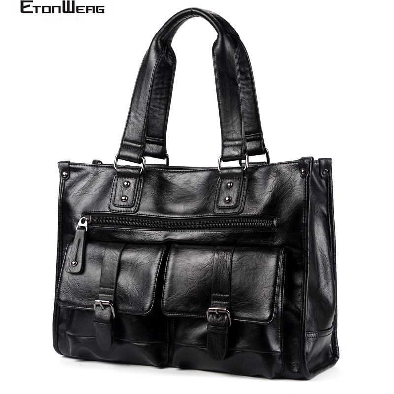 Men's Multifunction Handbag Brand PU Leather Travel Bag Male Solid Black Tote Large Capacity Messenger Bag Business Laptop Bags