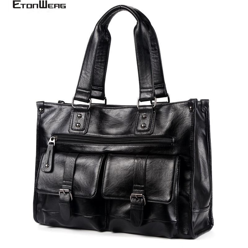 Men's Multifunction Handbag Brand PU Leather Travel Bag Male Solid Black Tote Large Capacity Messenger Bag Business Laptop Bags