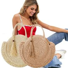 Summer Straw Beach Bag Handmade Round Women Shoulder Bags Raffia Circle Rattan Bohemian Casual Woven Handbags
