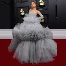 Gray Celebrity Party Dresses Tulle Arabic Evening Dress Strapless Kaftans Formal Dubai Women 2020 Robe De Soiree Prom Dresses