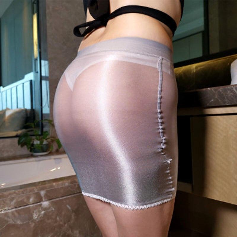 Shiny Glossy Oil Elastic Package Hip Micro Mini Skirts Night Club Sexy Transparent Pencil Skirt Charming Jupe Faldas Clubwear