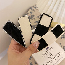 Fashion New Elegant Black and White Leather Hair Clips Crystal Rhinestones Barrettes Geometric BB Hair Clips Jewelry Accessories
