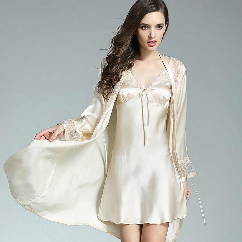 女性 100% シルクのパジャマセクシーなパジャマファム睡眠ラウンジ Bedgown 純粋な絹のパジャマスーツローブセットネグリジェ女性の寝間着