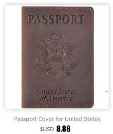 Nova chegada genuíno cavalo louco couro passaporte