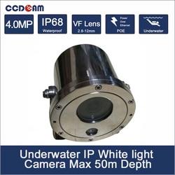 4MP 50M głębokość białe światło aparat podwodny poe mocy do monitorowania morskiego i monitorowania pływania