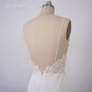 Image 5 - Свадебное платье футляр на тонких бретельках, свадебное платье с кружевной аппликацией и жемчужинами, бальное платье с низкой спинкой, свадебное платье из крепа