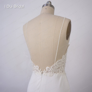 Image 5 - Spaghetti Strap Sheath Wedding Dress Lace Appliqued Pearl Beaded Low Back Crepe Bridal Gown Hilary Duffs Wedding Dress Material