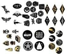 Набор брошей в стиле панк, темная ведьма, дьявол, Череп, волшебный шар, пчела, летучая мышь, эмалированная булавка, набор джинсов, Хэллоуин, бу...