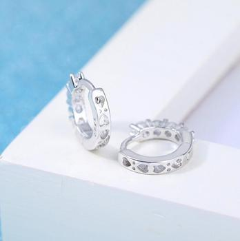 100% 925 Sterling Silver Dazzling CZ Crystal Circle Round Hoop Earrings for Women Sterling Silver Jewelry SCE351-1H 3