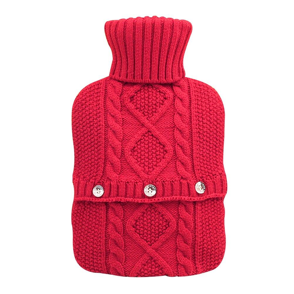Складной большой съемный зимний однотонный вязаный чехол для грелки, сохраняющий тепло, взрывозащищенный защитный портативный - Цвет: Красный