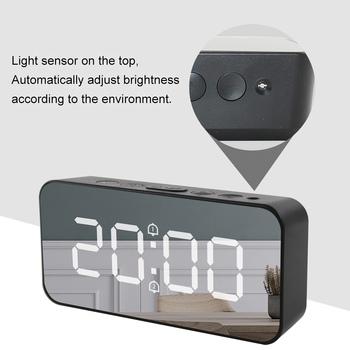 Cyfrowy budzik LED zegar projektor cyfrowy Radio z budzikiem moda regulowany lustro budzik budzik tanie i dobre opinie Houkiper CN (pochodzenie)