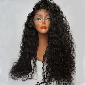 Image 2 - Парик Фэнтези Бьюти 180% из плотного клея, предварительно выщипанные на шнуровке Передние синтетические волосы, вьющийся парик, Термостойкое волокно с детскими волосами