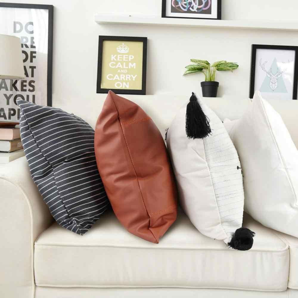 OurWarm Boho minder örtüsü çizgili atmak yastık 45Cm x 45Cm kare kanepe ve sandalye dekoratif yastık deri kılıf yastık