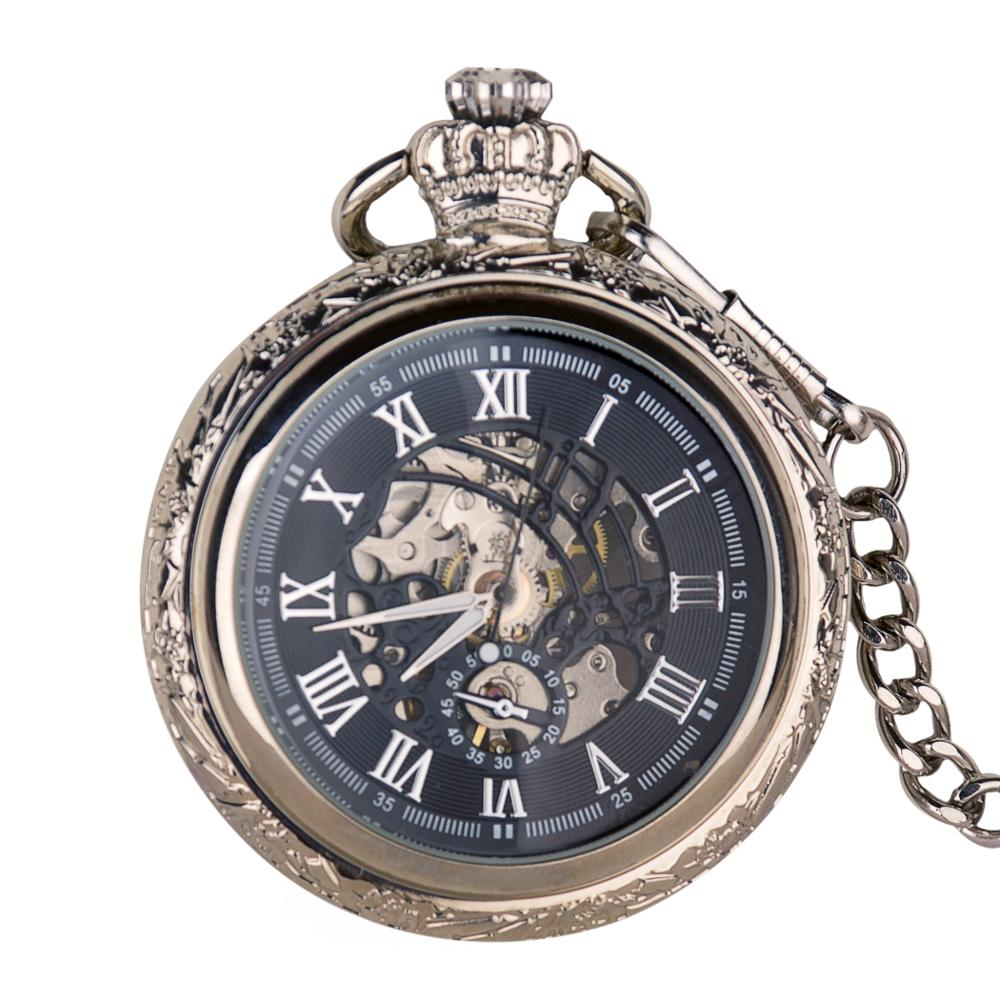 Skeleton Automatic Mechanical Pocket Watch Retro Black Antique Hand-winding Watch With FOB Chain Clock Unisex For Men Women Gift