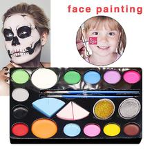 Child Makeup Set- 16 Face Paint Face Paint with 4 pcs Sponges 30 Painting Stencils 10 Brush Gift for Kids Parties& Halloween