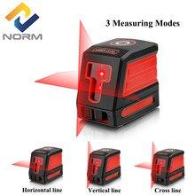 Norm 2 linhas laser nível vermelho/verde feixe auto-nivelador a laser vertical horizontal linha transversal nivel nível ferramentas de medição