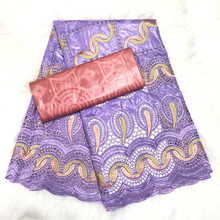100% Cotton Embroidery Bazin Riche Brocade Lace Fabric with Good Smelling African Bazin Brode Lace Fabric for Women Dress