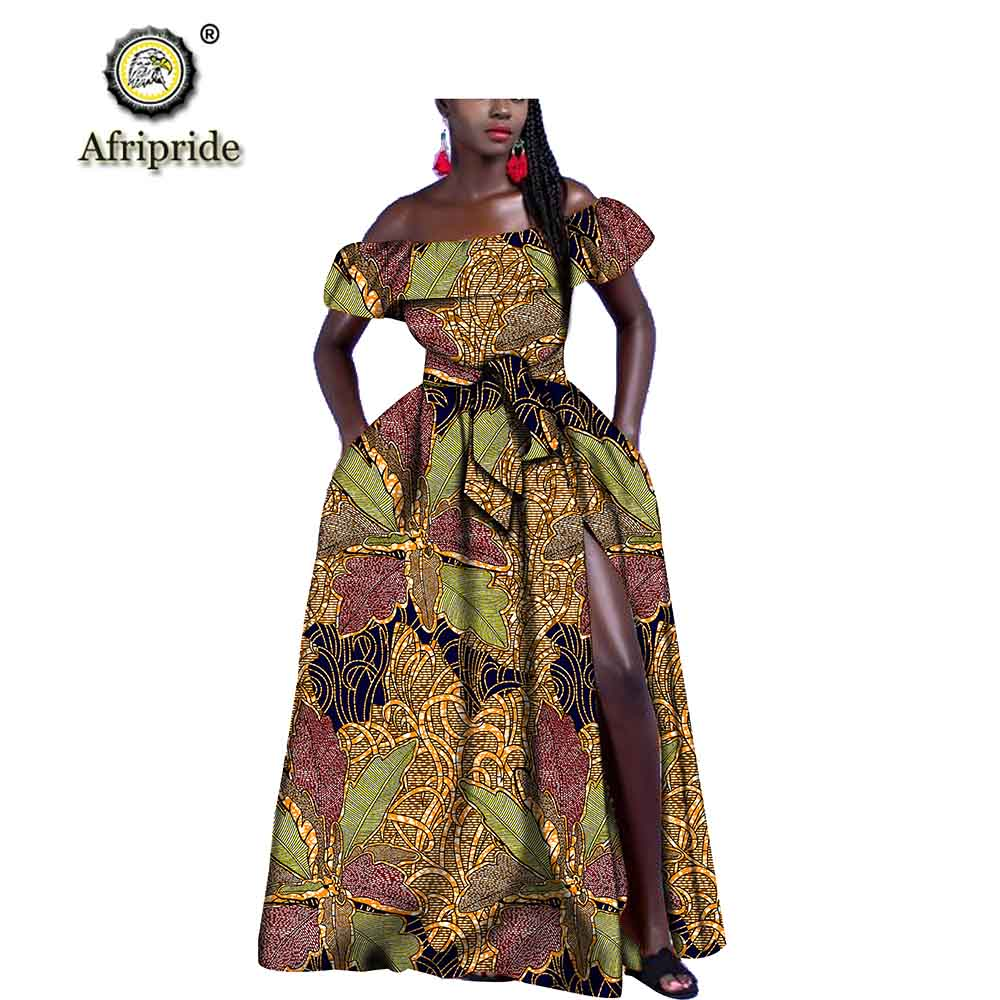 african dresses for women Afripride dashiki Off the shoulder Strapless with sashes floor- length ball gown vintage S1925034