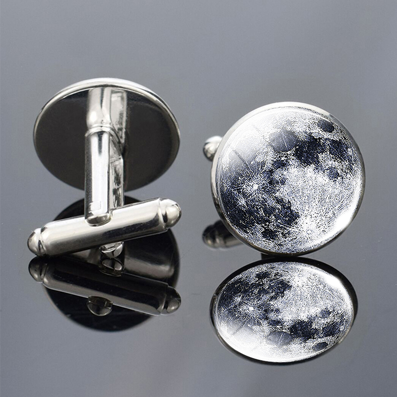 1 Pair Full Moon Galaxy Planet Cufflinks Suits Shirt Cuff Links Silver Plated Cufflinks For Men Wedding Cuff Accessories