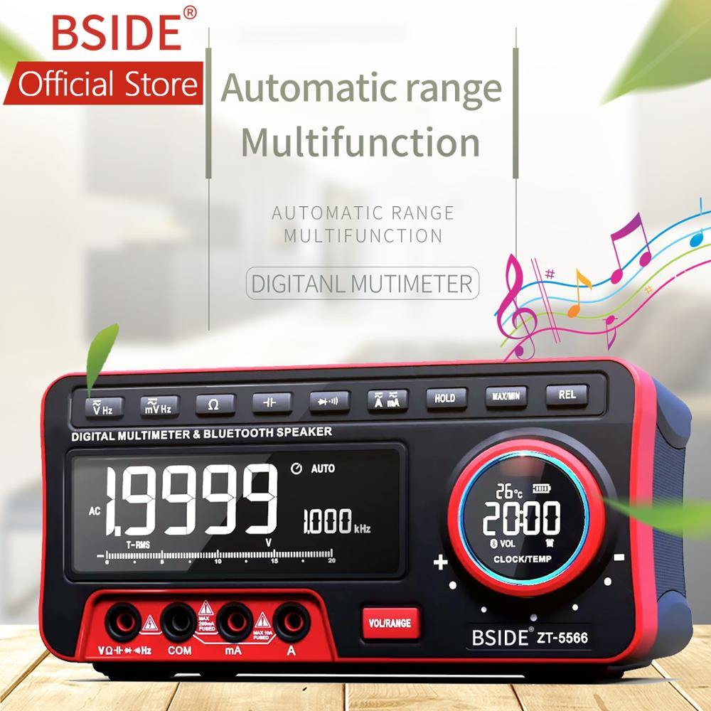 BSIDE Dual Display Digital Multimeter EBTN + Wireless Speaker + Clock 19999 Counts Benchtop DMM with 2Pcs 18650 Battery(China)
