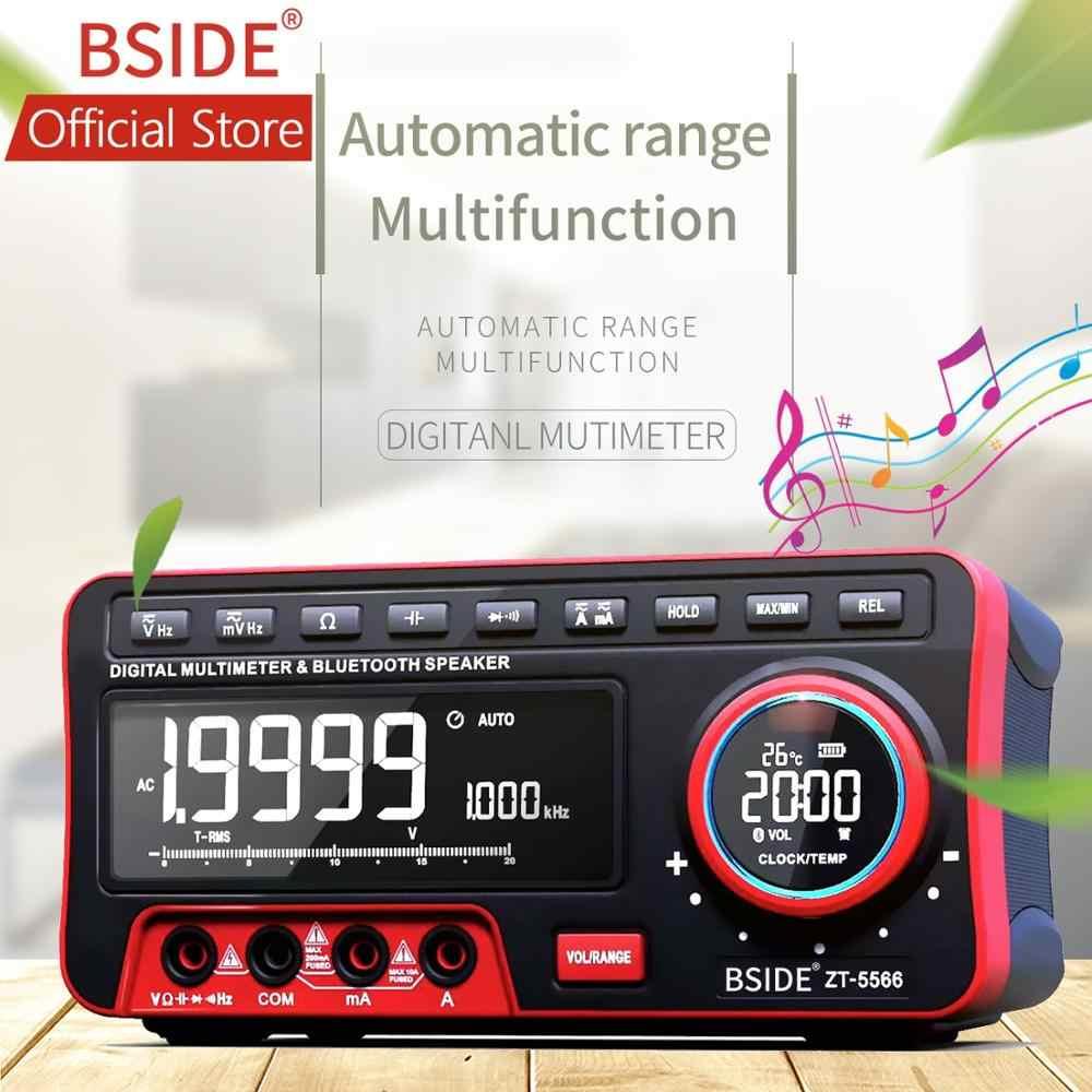 BSIDE Dual Display ดิจิตอลมัลติมิเตอร์ EBTN + ลำโพงไร้สาย + นาฬิกา 19999 นับ Benchtop DMM 2Pcs 18650 แบตเตอรี่