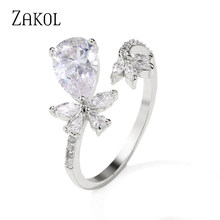 ZAKOL luxe fiançailles fleur goutte d'eau couleur claire zircon cubique anneaux ouverture réglable bijoux de mariage pour les femmes RP5010