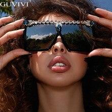 Diamant Übergroßen Sonnenbrille Frauen 2020 Strass Quadrat Sonnenbrille Männer Gläser Luxus Marke Designer Brillen Shades UV400